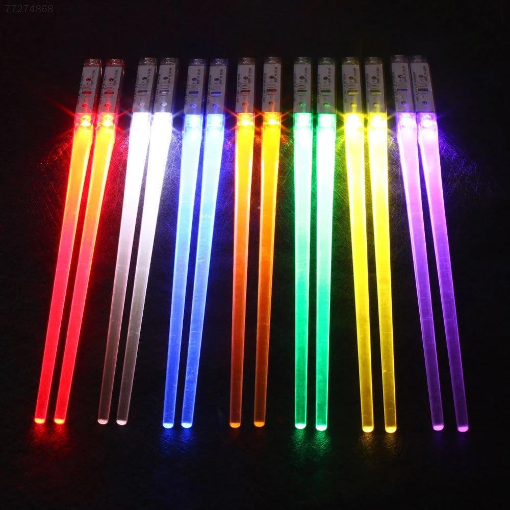 BESTONZON Light Up Chopsticks Portable LED Lightsaber Lightweight Chopsticks BPA Free