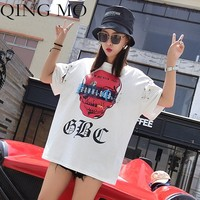 QING MO Short Sleeve T Shirt 2018 Women Summer Tops and Tees Red Skull T Shirt Pattern Casual Clothing Female T Shirt AD1072A