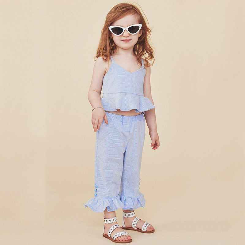 2b315efd1a897 1-5T Summer Toddler Kids Baby Girl Fashion Clothes set Boho Beach Striped  Ruffle Crop Tops Flared Pants Cute Outfits set Sunsuit