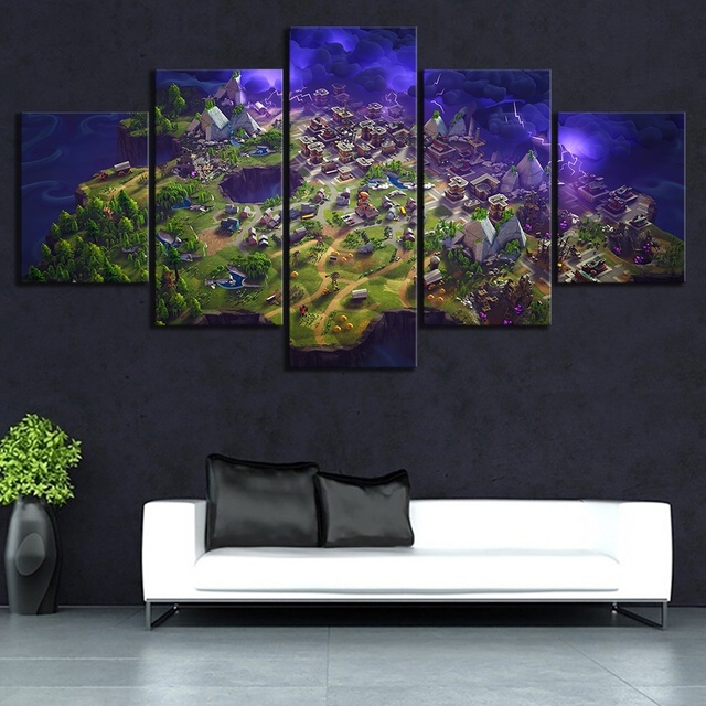 5 Piece Fortnight Battle Royale Map Video Game Poster Fort Pictures Nite Landscape Wall Art Living Room