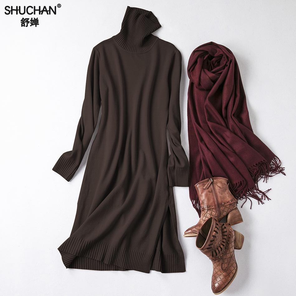 Shuchan Winter Knitted Dress Turtleneck Warm 50% Wool+25%cotton+10%cashmere Straight Knee length Knit Sweaters Dresses 0119