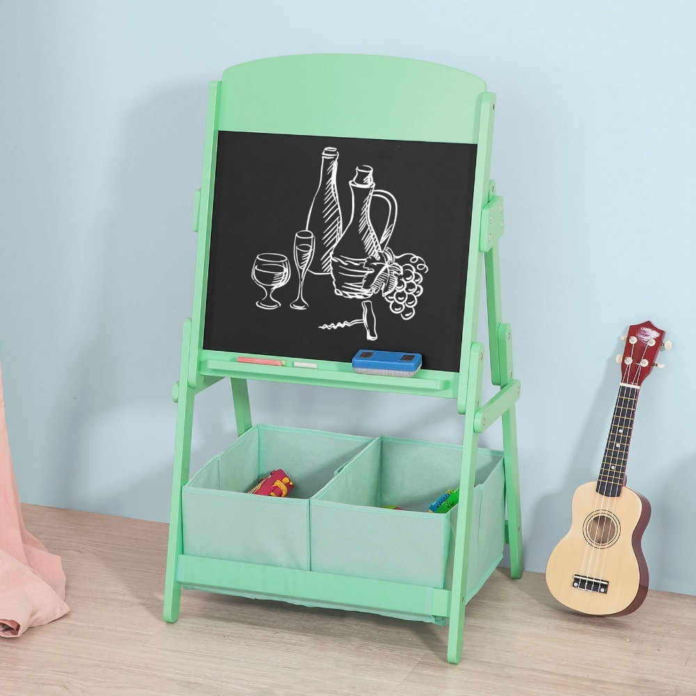 SoBuy KMB03 Children Kids Art Easel Blackboard Chalkboard With 2 Storage Boxes
