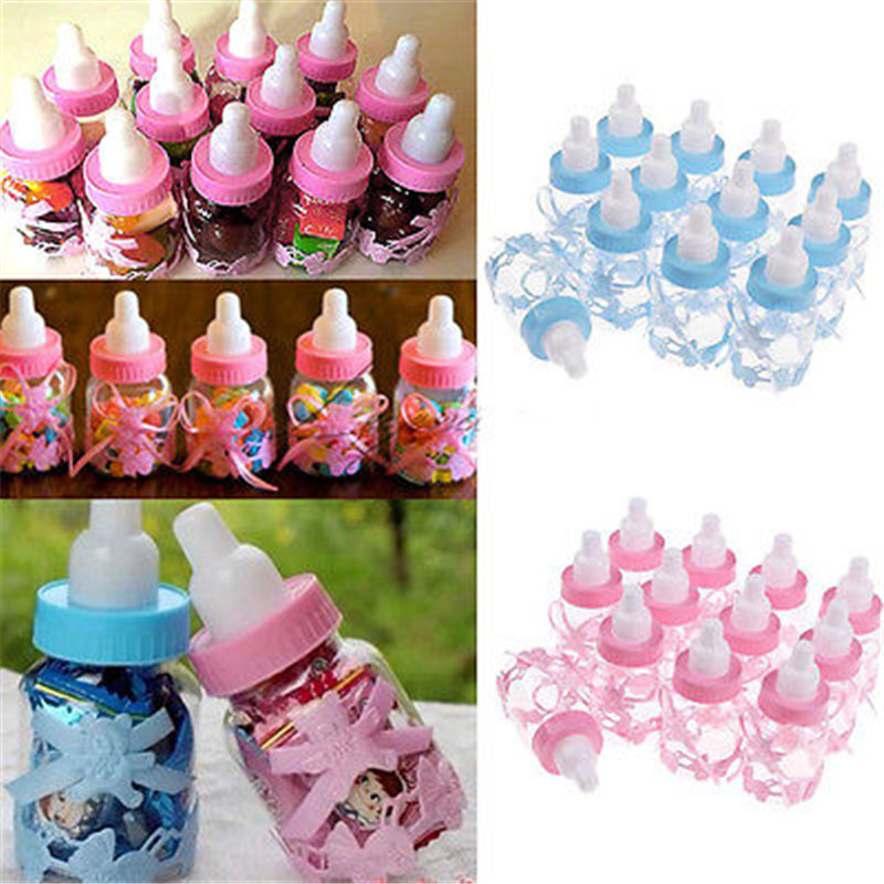 12PCS Kids Baby Fillable Bottles Shower Favors Decor Keepsake Plastic Milk Bottle Fillable Bottles Shower Favors Bow Wholesales