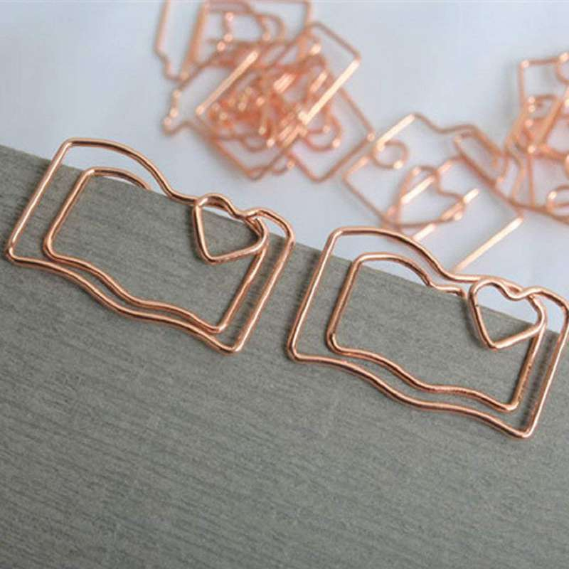 Book Reading Paper Clips Metal Card File Note Clips For Office School Wedding Decoration Pack 12pcs