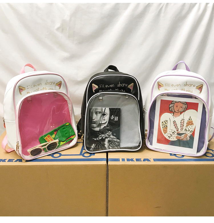 PVC Transparent Backpack Women Harajuku School Bags for Teenage Girls Cartoon Cat Ita Bag Ulzzang Ladies Candy Color Backpacks in Backpacks from Luggage Bags