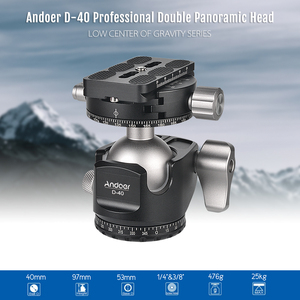 Image 2 - Andoer D 40 Professional CNC Double Panoramic Tripod Monopod Ball Head for Canon Nikon DSLR ILDC Cameras Max Load Capacity 25kg