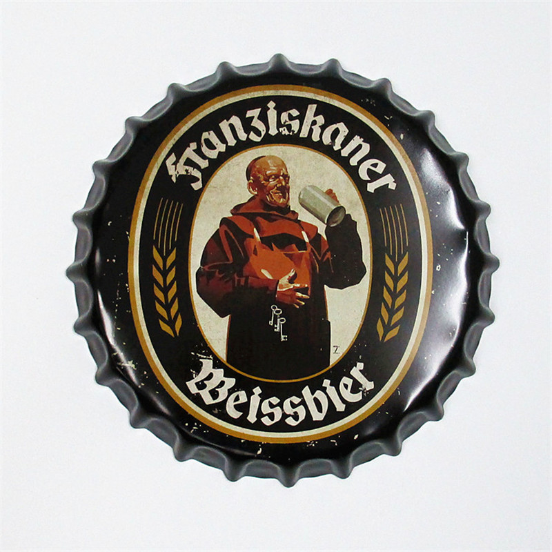 35cm Metal Poster Sign Weissbier Round Bottle Cap Tin Signs Art Wall Decor House Cafe Bar Vintage Metal Signs Beer Cap