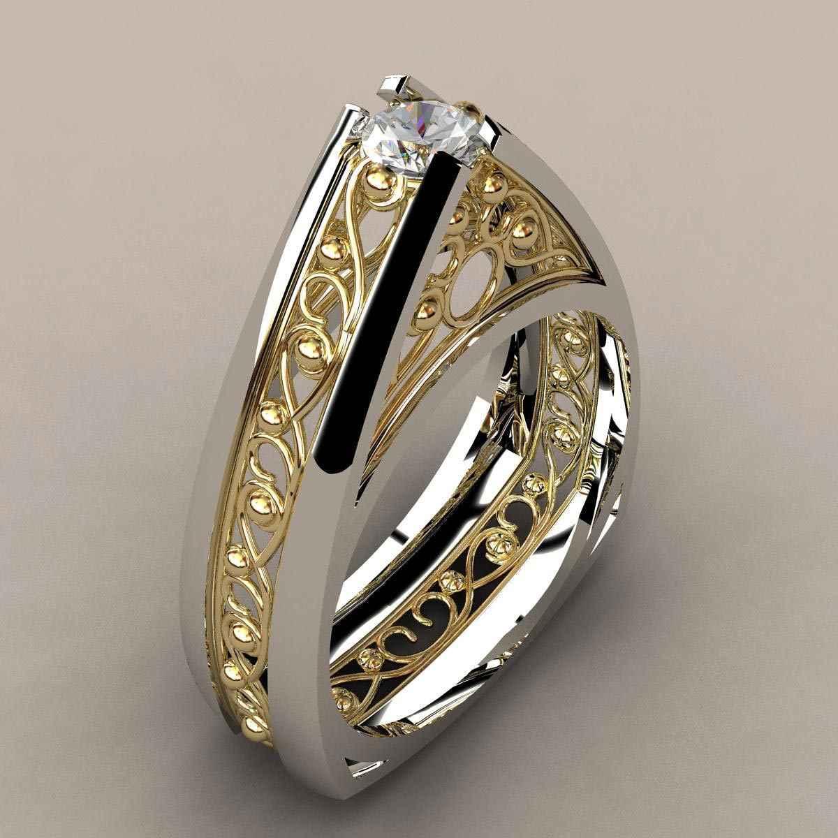 Anillo De diamante simulado De oro De 14k anillo De separación Anillos De Bizuterias Anillos De Rock hip-hop para mujeres y hombres joyería diamante De piedras preciosas