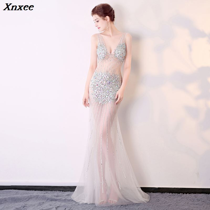 Xnxee Sexy Perspective Loading Exhibition Show Night Show Costumes Deep V Neck Mermaid Hand Stitched Long Evening Party Dress in Dresses from Women 39 s Clothing