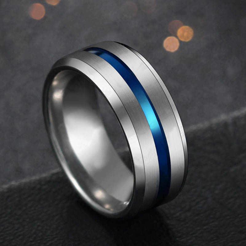 Aço inoxidável preto titânio arco-íris groove anéis jóias 8mm largura casamento feminino ou masculino