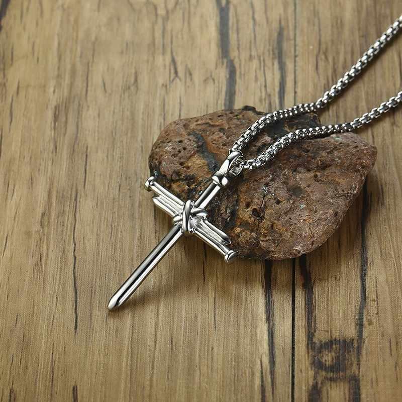3 kolory mężczyźni łańcuch biżuteria chrześcijańska prezenty Vintage krzyż krucyfiks jezus kawałek długi wisiorek i naszyjnik złoty kolor tytanu stali