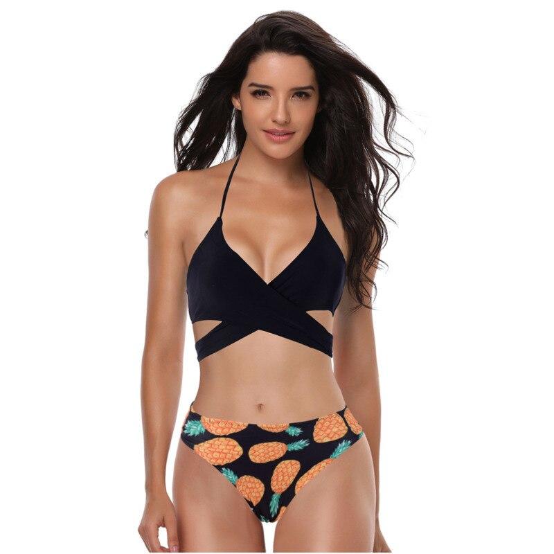 ECTIC Bikini 2019 Cut Out Bathing Suit Low Waist Sexy Swimsuit Solid Micro Swimwear Women Brazilian Biquini Swim Beach Biquinis