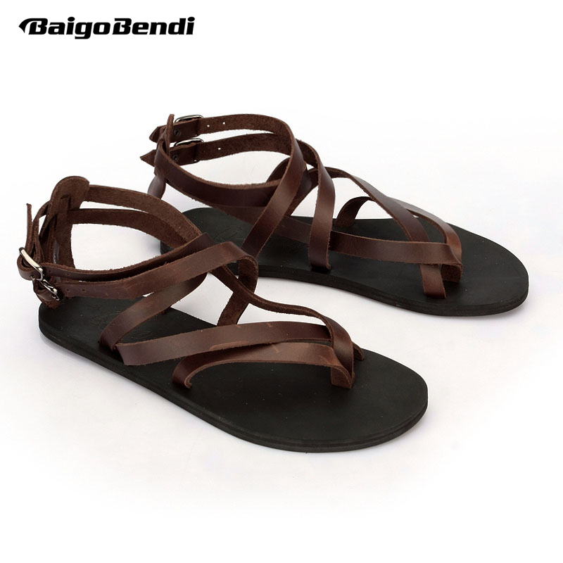 Large Size 45 Narrow Band Sandals Men Real Leather Cross-tied Summer Shoes Man Flip Flop Sandals Rome Gladiator ShoesLarge Size 45 Narrow Band Sandals Men Real Leather Cross-tied Summer Shoes Man Flip Flop Sandals Rome Gladiator Shoes