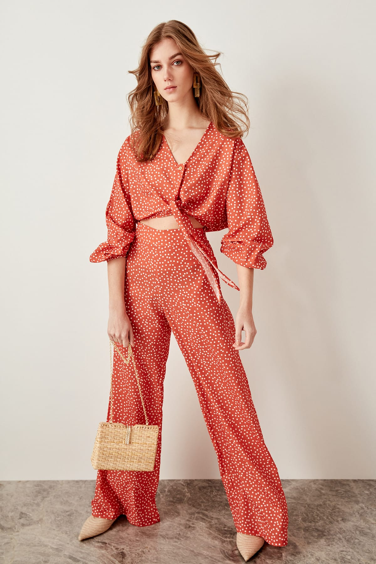Trendyol Orange Polka Dots Wide Leg Pants TWOSS19DU0089