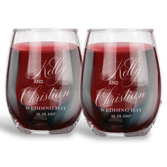 2 pièces personnalisé mariage fiançailles anniversaire sans tige verre à vin, personnalisé gravé grille verres tasse, cadeau Unique pour Couple