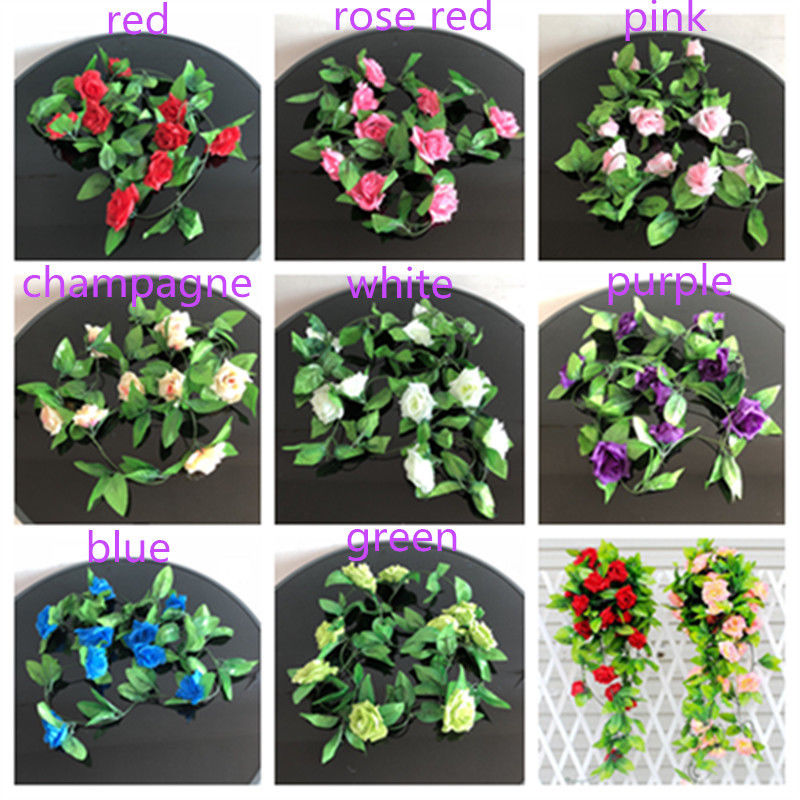 7-branch Wall Hanging Artificial Ivy Vine Hydrangea Garland Decor Purple
