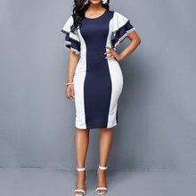 Sexy Bodycon Office Dress Women Elegant Stripe Ruffle Purple Slim Vintage Plus Size Party Ladies Work Casual Blue Summer Dresses