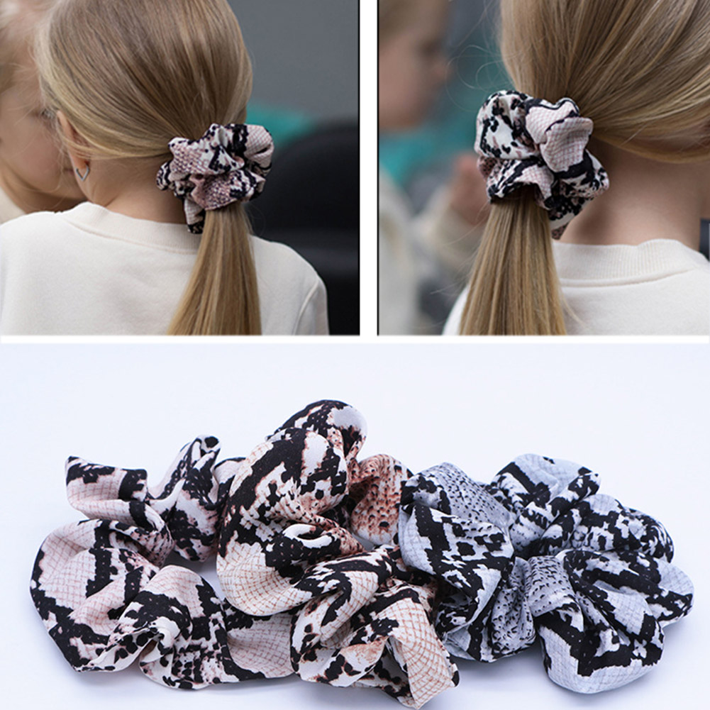 Learned Fashion Scrunchies Snake Elastic Hair Bands Ladies Stretch Ponytail Rubber Print Headband Solid Headwear Hair Accessories With Traditional Methods Apparel Accessories