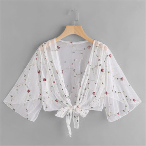 Women One Size Flower Print Patchwork Mesh White See Through Ladies Outwear Long Sleeve Beachwear Cover Ups
