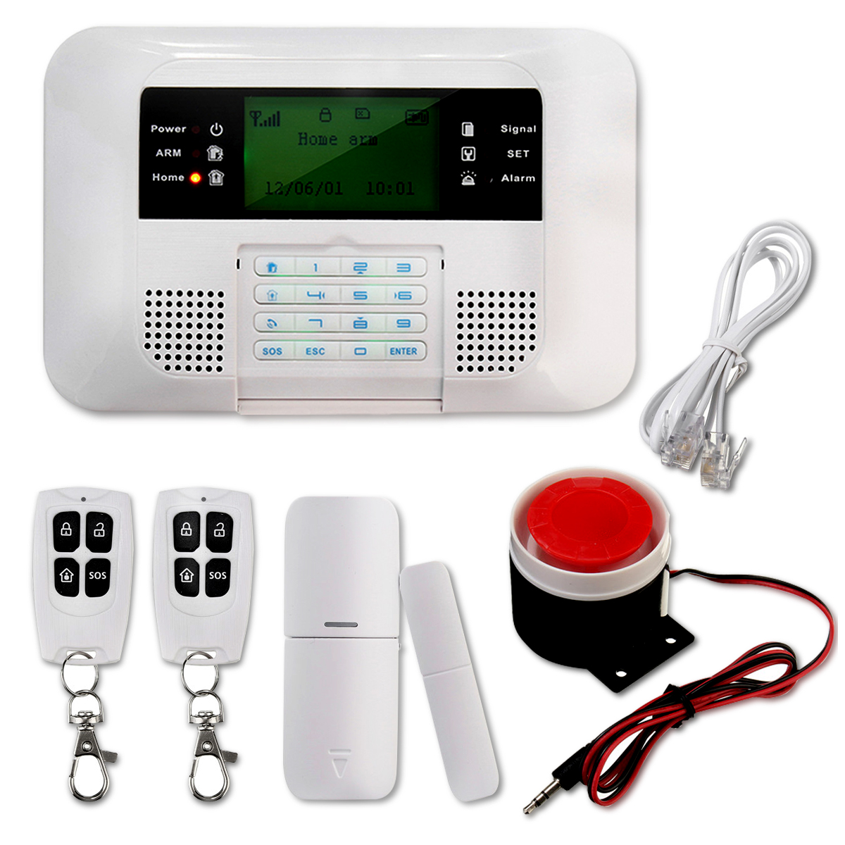 Wireless GSM and PSTN SMS Home House Alarm System Security Auto Dialer SOS High Quality