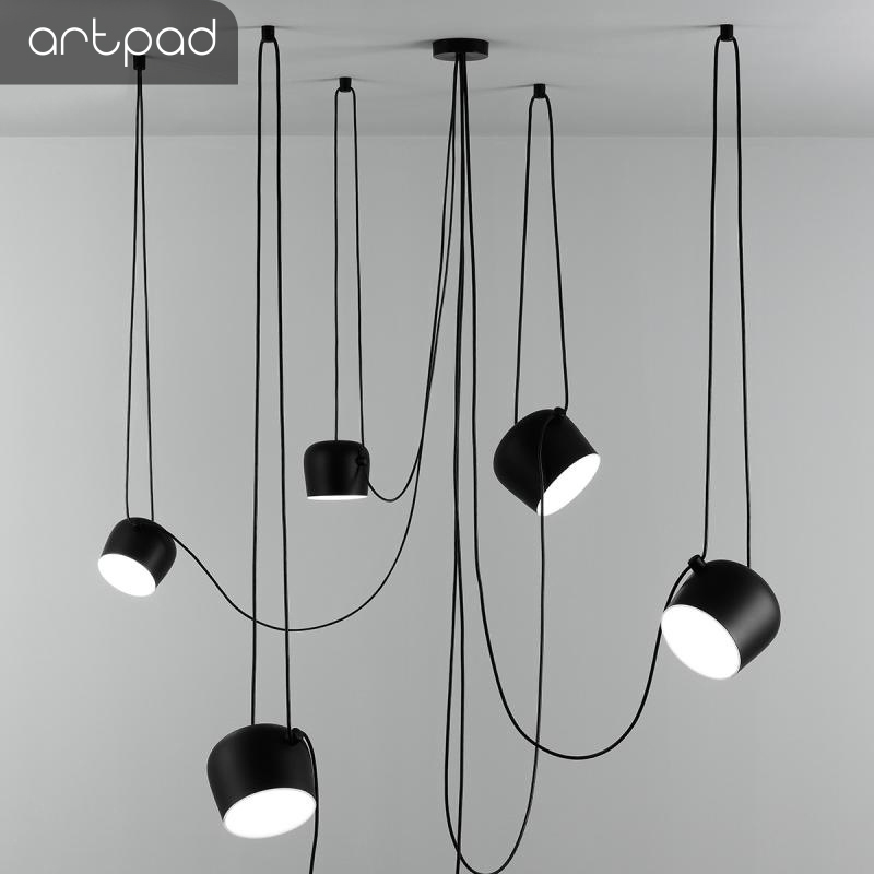 Simple Creative DIY Spider Bedroom Pendant Light Black White Modern Suspension Led Kitchen Restauran Bar E27 Pendant Lamp Light in Pendant Lights from Lights Lighting