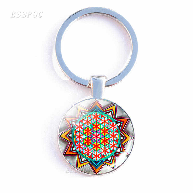 Mandala Art Picture Glass Cabochon Pendant Keychains Double Side Sacred Geometry Yoga Om Fashion Women Jewelry Key Chain Rings