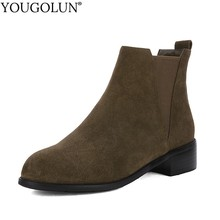 Suede Low Heel Chelsea Ankle Boots Women Spring Autumn Lady Heels Shoes A220 Fashion Woman Black Green Round Toe