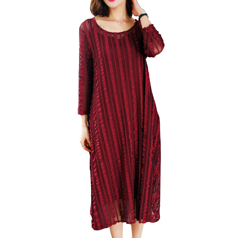 Plus Size 2019 New Spring Fashion Women dress Loose In French Western Style Long Wealthy Woman Dresses Wine Red 1018