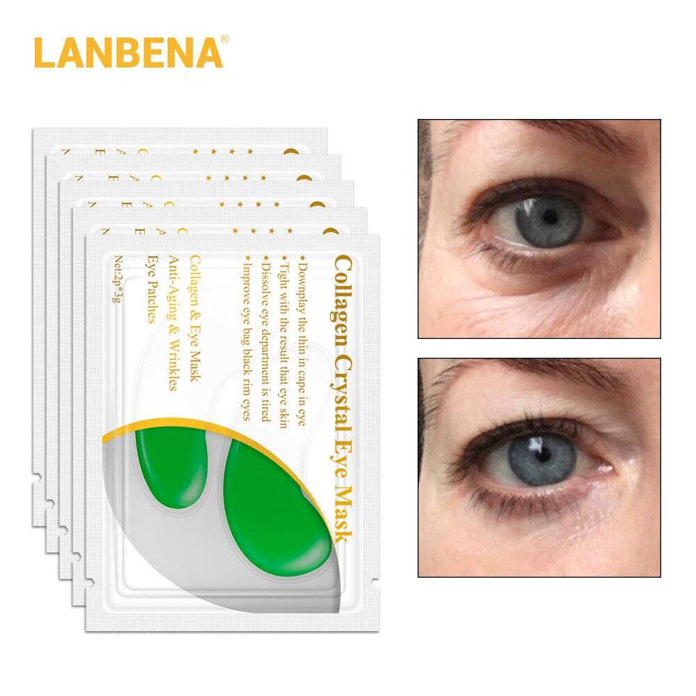 Lanbena 10pcs=5 Pair 24k Gold Eye Mask Collagen Eye Patches Dark Circle Puffiness Eye Bag Anti-aging Wrinkle Firming Skin Care