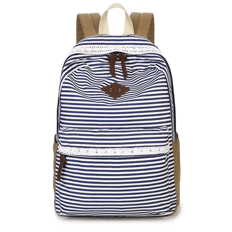 Preppy Stylish Canvas Printing Backpack Women School Bags for Teenage Girls Cute Blue stripe Travel Backpacks Female Backpack stylish multicolor stripe pattern bucket hat for women