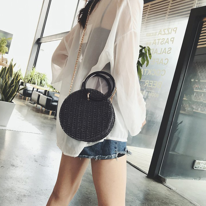 Women Handmade Round Beach Shoulder Bag Circle Straw Bags Summer Woven Rattan Handbags Women Messenger Bags(Black)