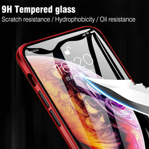 Image 3 - For iphone 8 7 plus iphone X XS Max XR phone case 360 cover coque Luxury Double sided front+back clear glass metal Magnetic case