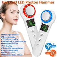 Hot Cold Therapy LED Photon Hammer Face Anti aging Lifting Tightening Rejuvenation Powered Facial Skin Cleansing Care Device New