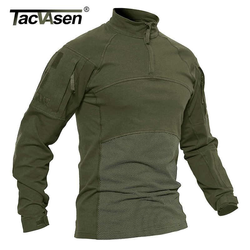 TACVASEN גברים טקטי חולצות צבאי בגדי כותנה ארוך שרוול Airsoft צבא חולצות זכר קל משקל ציד חולצות פיינטבול