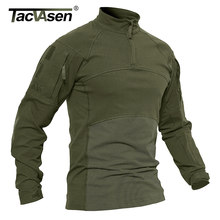 TACVASEN Men Tactical T-shirts Military Clothing Cotton Long Sleeve Airsoft Army T-shirts Male Lightweight Hunt Tops Paintball(China)