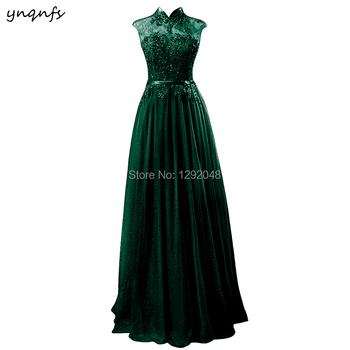 YNQNFS Real Emerald Green High Neck Mother of the Bride Lace Dresses Long Evening A Line Vestido de Festa Longo Party Gown MD350