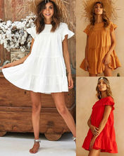 Lady Women Dress Frill Smock Sundress Beach Summer Holiday Casual Loose Solid Dress Sexy Boho Short Sleeve Dress недорого