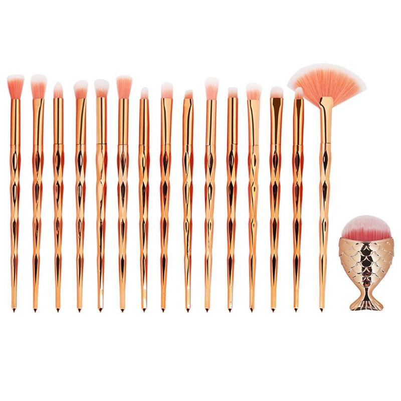 Купить с кэшбэком High Quality Mermaid makeup brush Set Foundation Eyebrow Eyeliner Cosmetic Concealer Diamond make up brushes pincel maquiagem