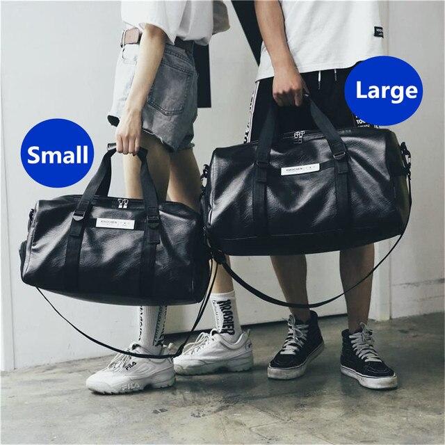 2019 новые кожаные Для мужчин дорожные сумки нести на багажные сумки Для женщин вещевой сумки черный дорожная сумка большая выходные сумка 2 размеры