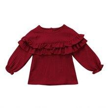 Детская хлопковая блузка с длинными рукавами и оборками для маленьких девочек, рубашка Топы Блузки, одежда, рубашки, sunsuit, Одежда 0-3Y