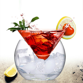Creative Cocktail Bar Saloon Bartender Double Deck Wine Glass Set Martini Wedding Champagne Coupes Ice Cream Cup Verre Tumbler