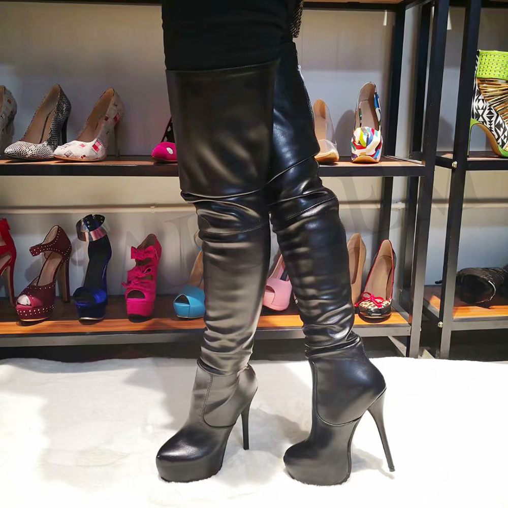 LAIGZEM Women Over-the-Knee Boots Faux Leather Waterproof Back Long Zipper SEXY Ladies Shoes Womam Botines Mujer Big Size 4-19LAIGZEM Women Over-the-Knee Boots Faux Leather Waterproof Back Long Zipper SEXY Ladies Shoes Womam Botines Mujer Big Size 4-19