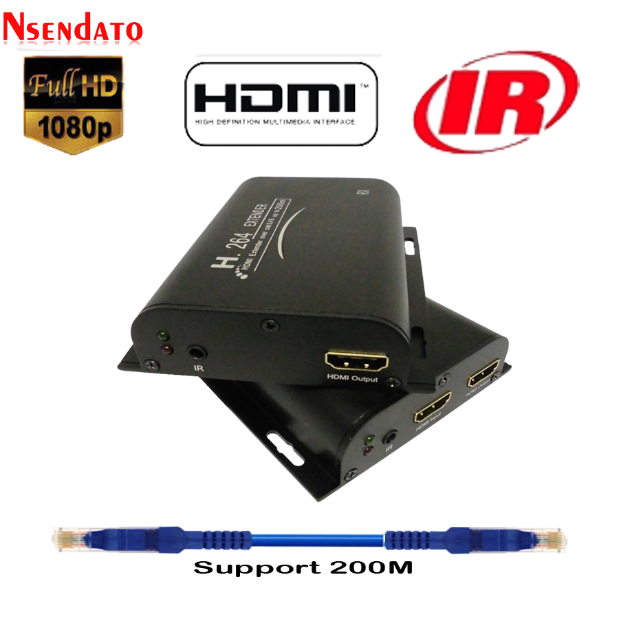 HDMI Extender 200M over Cat5 Cat6 With IR UTP H 264 HDMI Transmitter Receiver Network Extensor