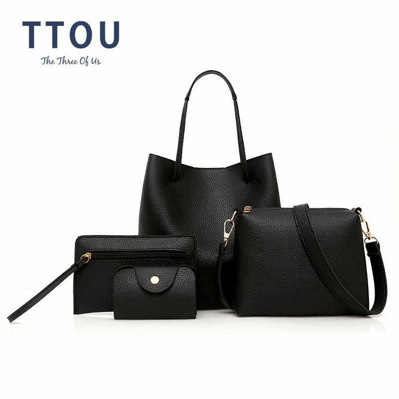 Ttou Fashion 4 Pcs/set Wanita Tas Kulit Berkualitas Perempuan Tas Bahu Wanita Messenger Crossbody Tas Komposit Bolso Mujer