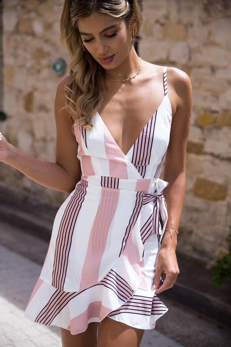 Summer Sexy Dress Women 2018 Backless Drawstring Bundle High Waist V-neck Spaghetti Strap Mini Dress Vintage Sleeveless Sashes