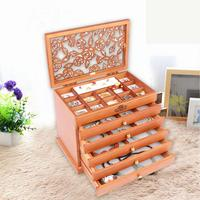 Exquisite Vintage Multi layered Wood Storage Box Princess Jewelry Retro Armoire Case Necklaces Drawer Divider For Women Supplies
