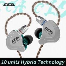 Cca C10 4ba + 1dd Гибридный в ухо наушник Hifi монитор DJ бег спортивные наушники 5 привод гарнитура шумоподавление наушники
