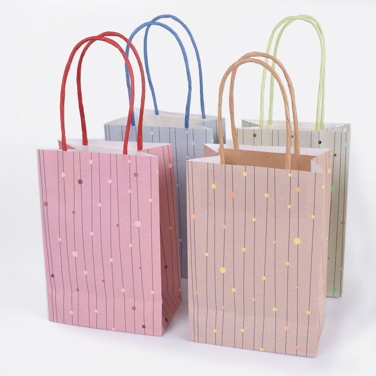 HARDIRON 50PCS Single-sided Bronzing Dot Striped White Kraft Paper Bag Fresh Mini Gifts Custom-made Bags Custom