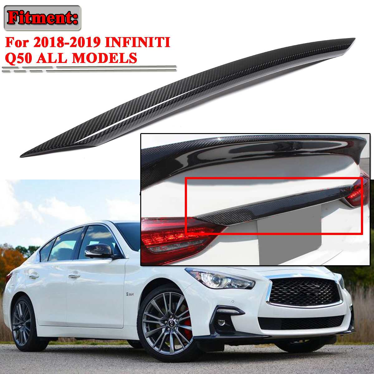 New Car Real Carbon Fiber Trunk Trim Center Lid Cover For
