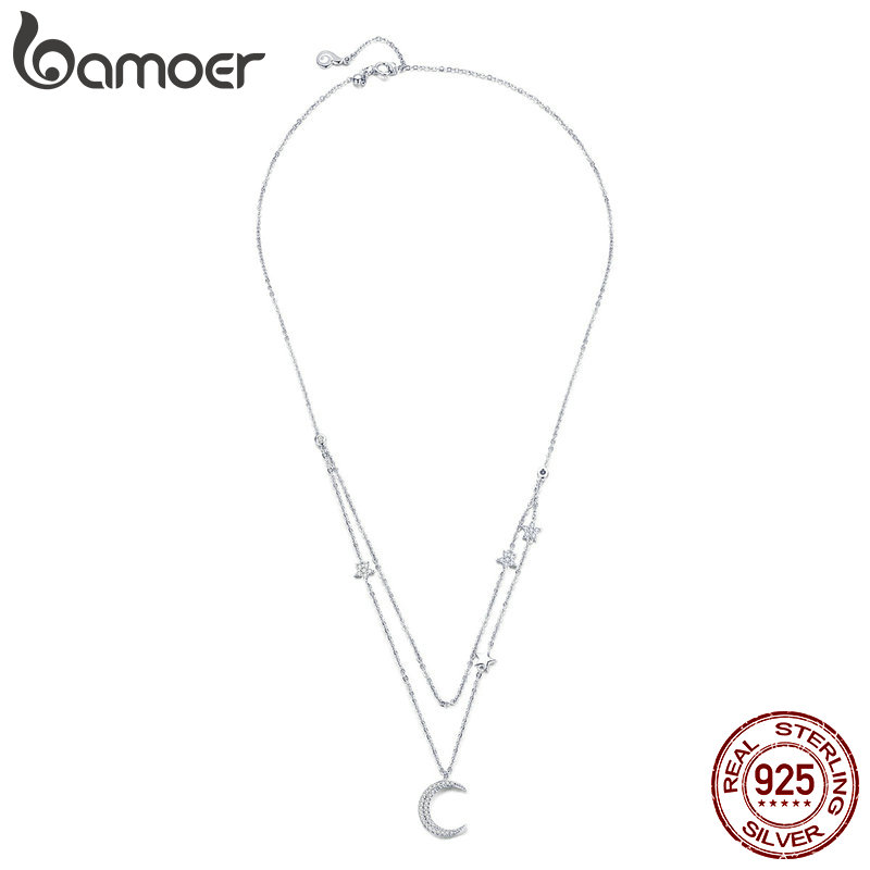 BAMOER Genuine 925 Sterling Silver Moon & Star Double Layers Chain Pendants Necklaces for Women Sterling Silver Jewelry BSN038BAMOER Genuine 925 Sterling Silver Moon & Star Double Layers Chain Pendants Necklaces for Women Sterling Silver Jewelry BSN038